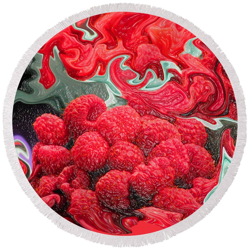 Art Photography Round Beach Towel featuring the photograph Raspberries by Kathy Moll