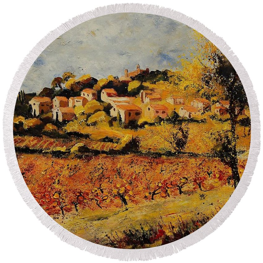 Provence Round Beach Towel featuring the painting Rasteau Vaucluse by Pol Ledent