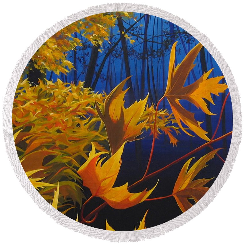 Autumn Leaves Round Beach Towel featuring the painting Raucous October by Hunter Jay