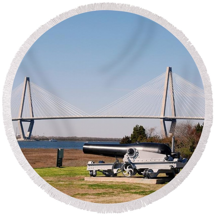 Photography Round Beach Towel featuring the photograph Ravanel Bridge From The Patriot Point by Susanne Van Hulst