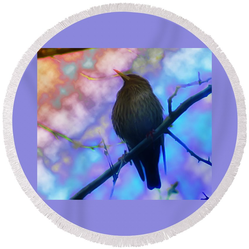 Bird Round Beach Towel featuring the photograph Raven In Spring by Bill Cannon