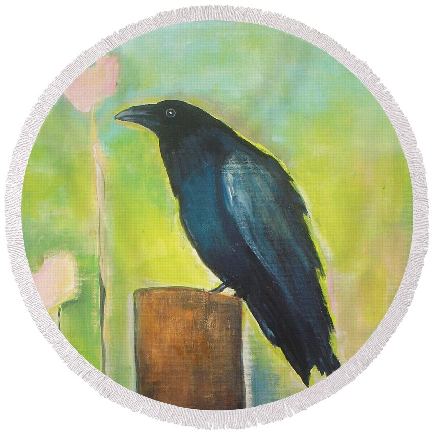 Raven Round Beach Towel featuring the painting Raven In The Garden by Vesna Antic