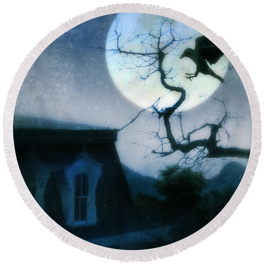 House Round Beach Towel featuring the photograph Raven Landing On Branch In Moonlight by Jill Battaglia