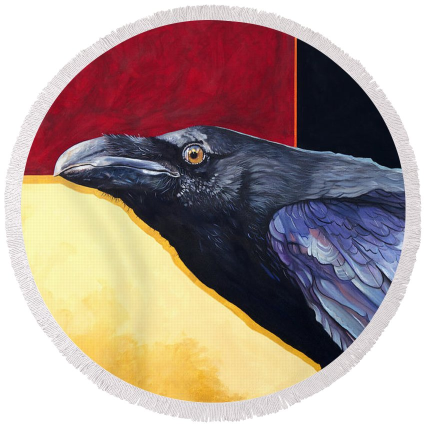 Raven Round Beach Towel featuring the painting Raven Of The Tomorrow Wings by J W Baker