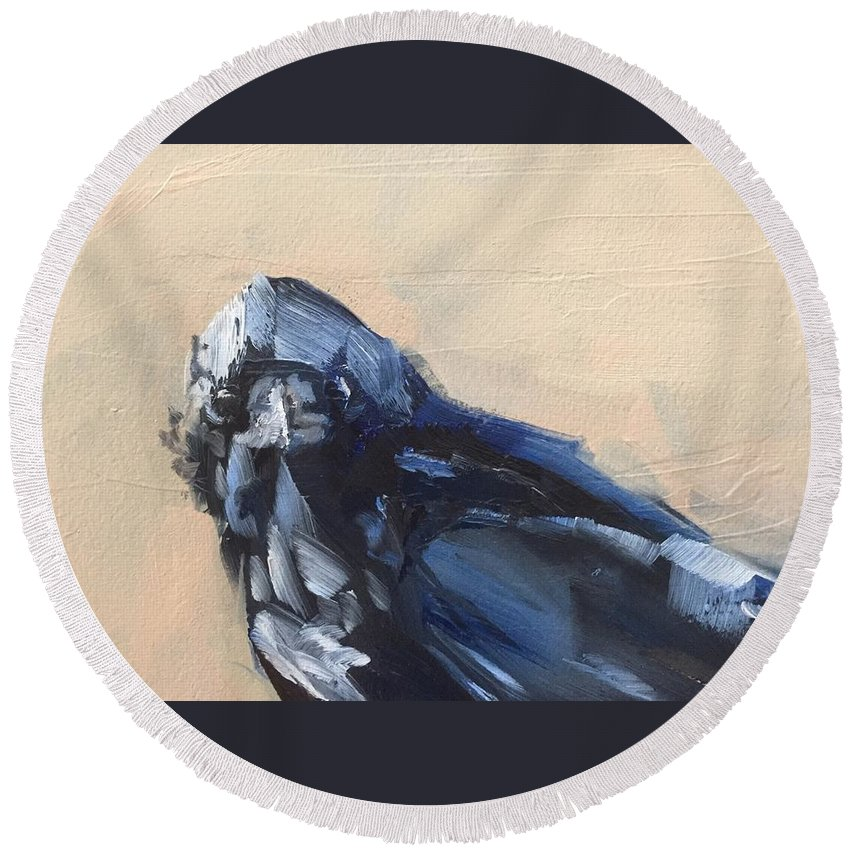 Bird Round Beach Towel featuring the painting Raven Stare by Gary Bruton