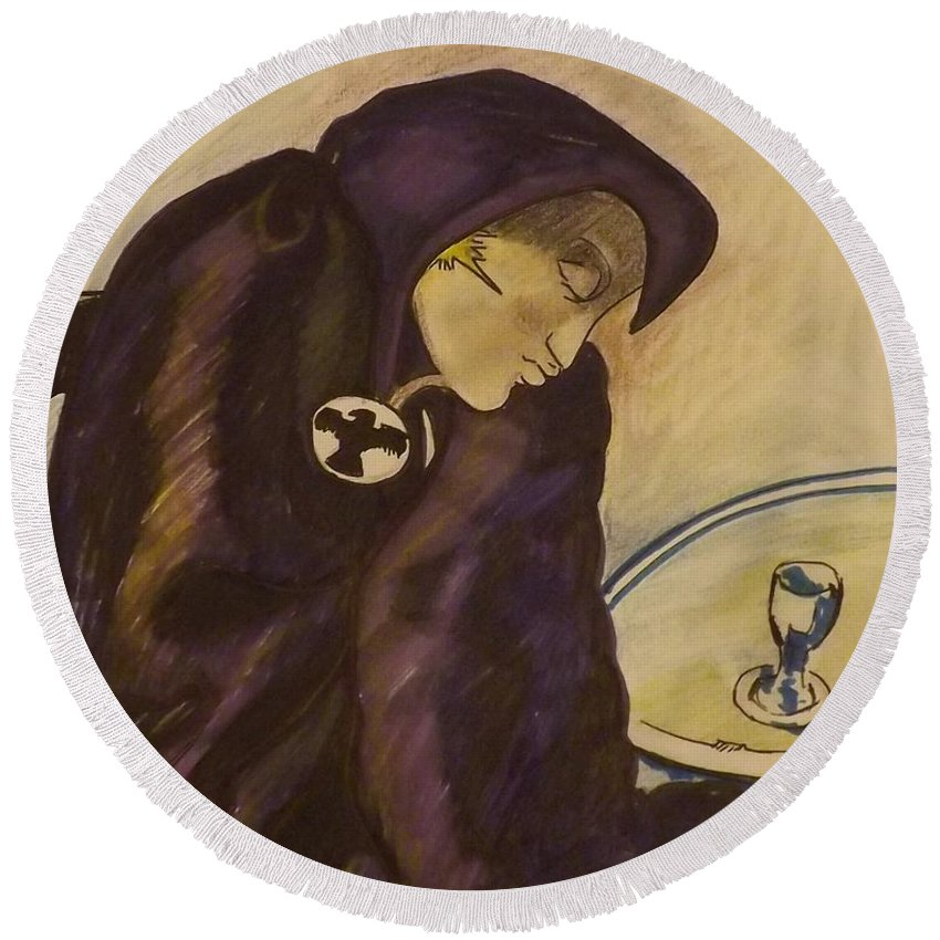 Dc Comics Round Beach Towel featuring the mixed media Raven - The Absinthe Drinker by Kevin Sweeney