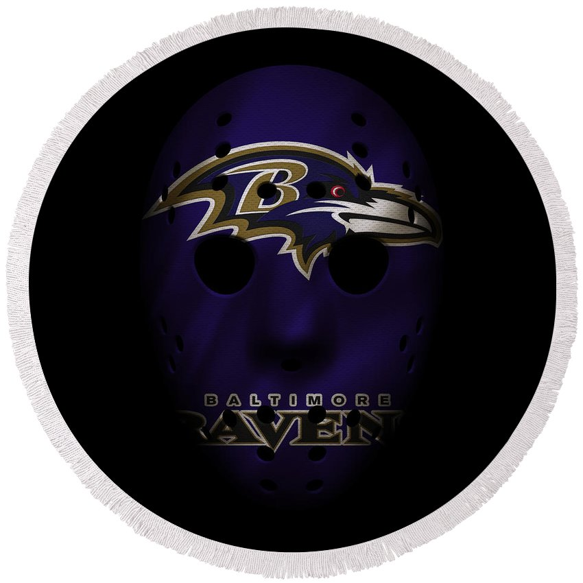 Ravens Round Beach Towel featuring the photograph Ravens War Mask by Joe Hamilton