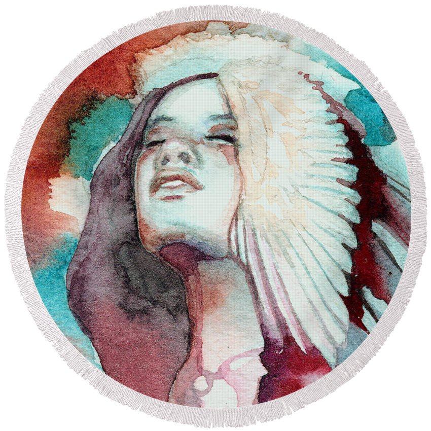 Native American Round Beach Towel featuring the painting Ravensara by Ragen Mendenhall