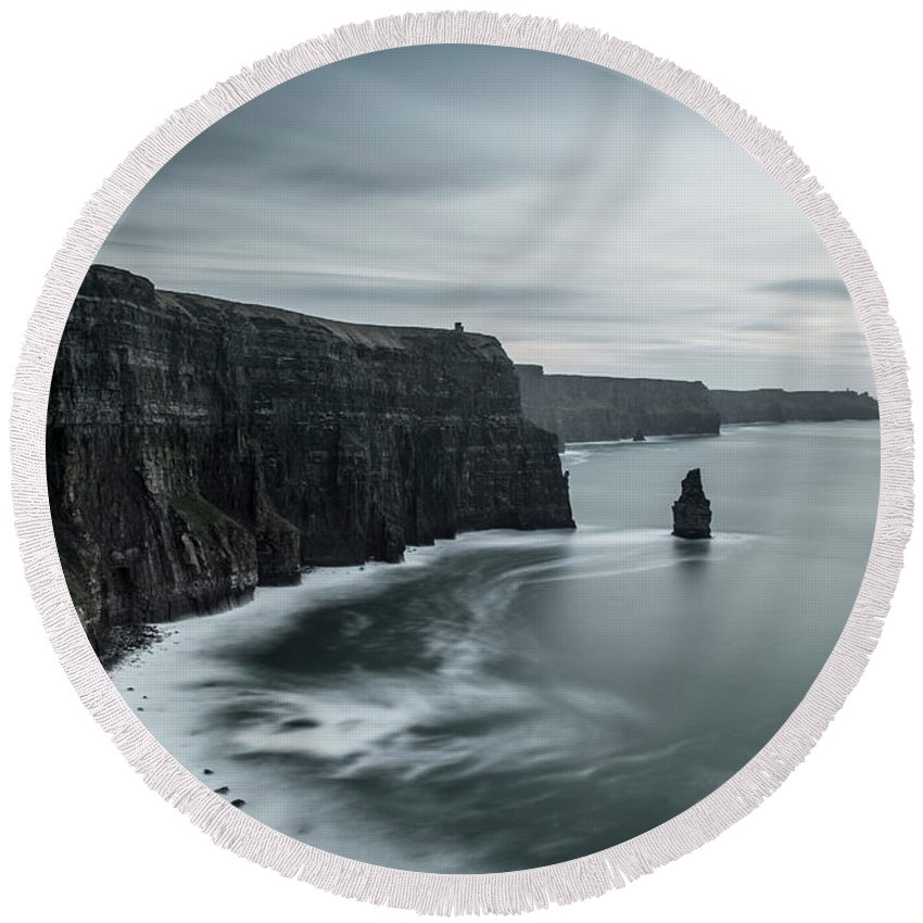 Ireland Round Beach Towel featuring the photograph Raw Beauty by Maria Janus