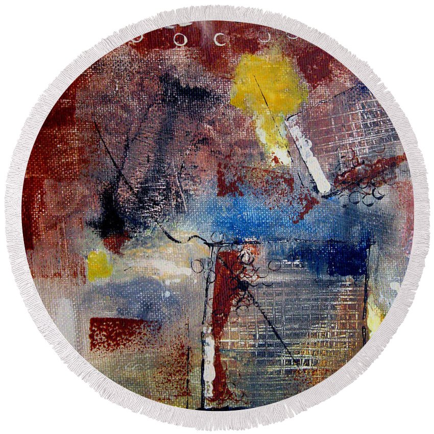 Abstract Round Beach Towel featuring the painting Raw Emotions II by Ruth Palmer