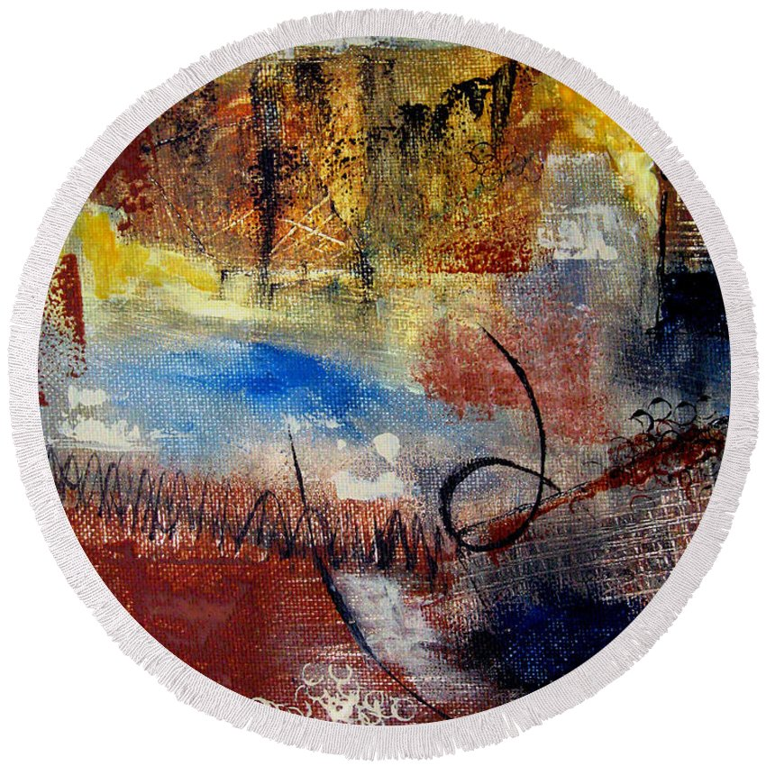 Abstract Round Beach Towel featuring the painting Raw Emotions by Ruth Palmer