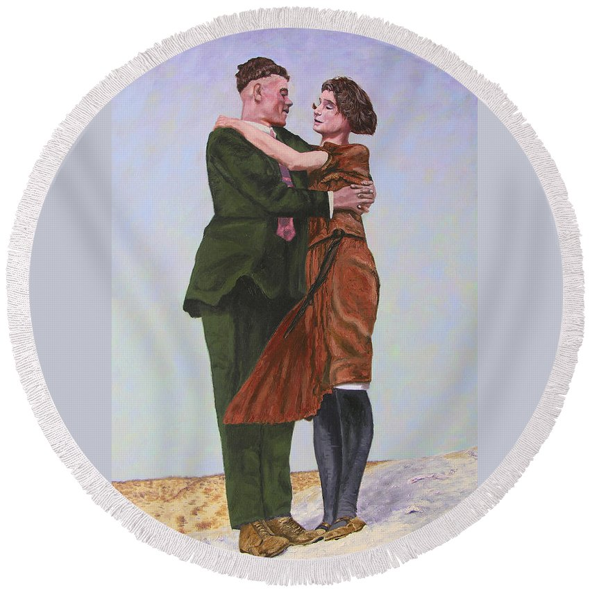 Double Portrait Round Beach Towel featuring the painting Ray And Isabel by Stan Hamilton