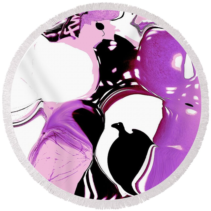 Abstract Round Beach Towel featuring the digital art Ray by Elisabeth Skajem Atter