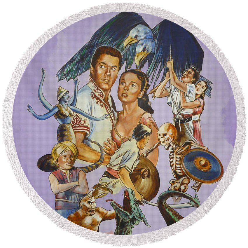 Movie Round Beach Towel featuring the painting Ray Harryhausen Tribute Seventh Voyage Of Sinbad by Bryan Bustard