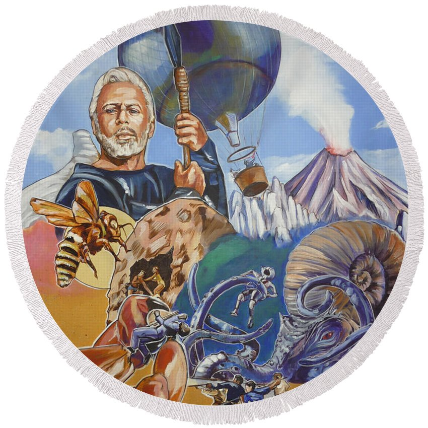 Mysterious Island Round Beach Towel featuring the painting Ray Harryhausen Tribute The Mysterious Island by Bryan Bustard
