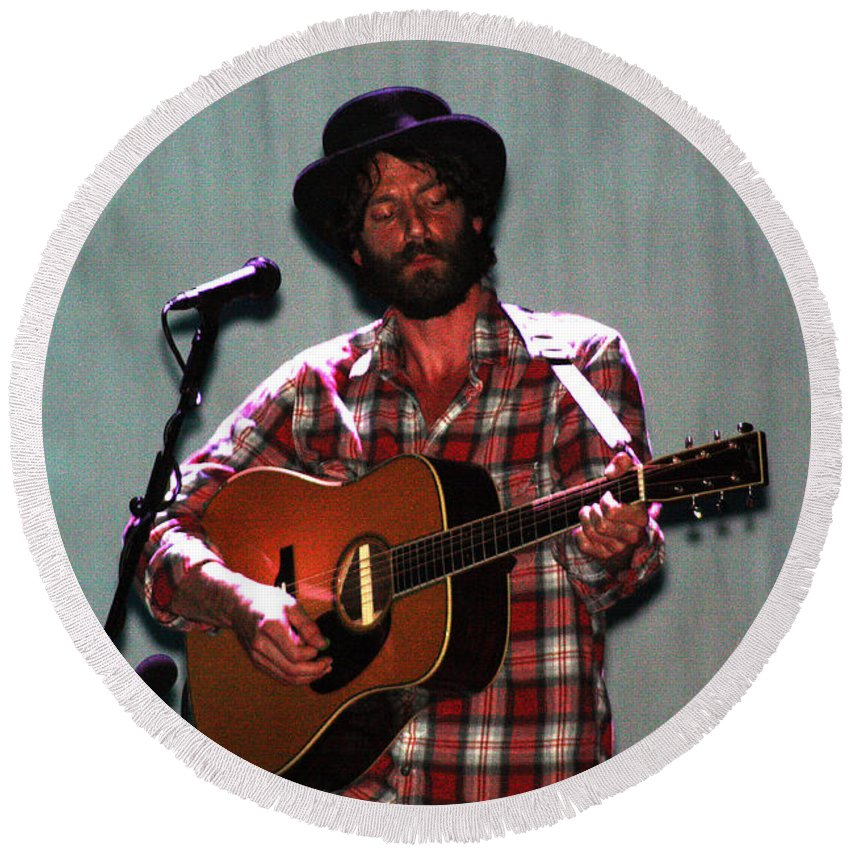 Ray Lamontagne Round Beach Towel featuring the photograph Ray Lamontagne-9040 by Gary Gingrich Galleries