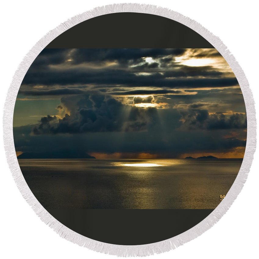 Clouds Round Beach Towel featuring the photograph Rays Of God by Max Steinwald