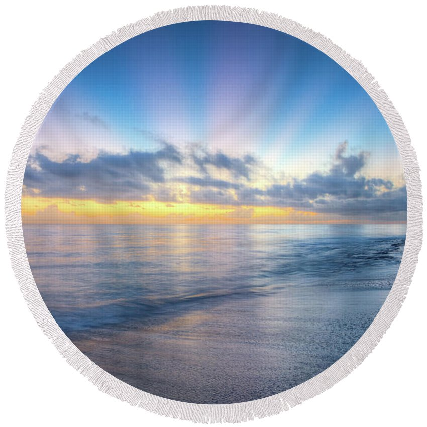 Clouds Round Beach Towel featuring the photograph Rays Over The Reef by Debra and Dave Vanderlaan
