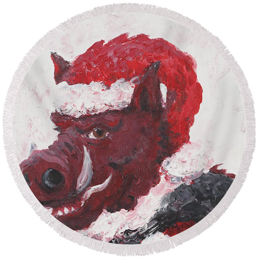 Santa Round Beach Towel featuring the painting Razorback Santa by Nadine Rippelmeyer