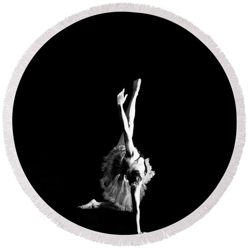 Ballerina Round Beach Towel featuring the photograph Reaching Ballerina by Scott Sawyer