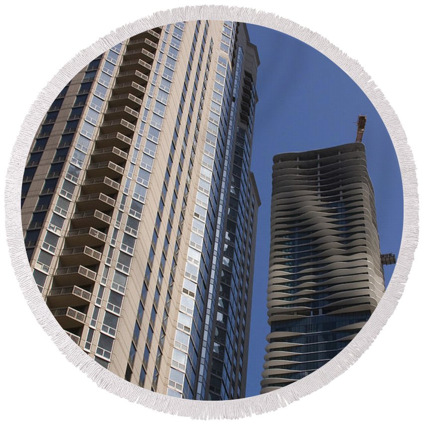 Chicago Wind Windy City Building Sky Skyscraper Blue Tall High Big Large Urban Metro Round Beach Towel featuring the photograph Reaching High by Andrei Shliakhau