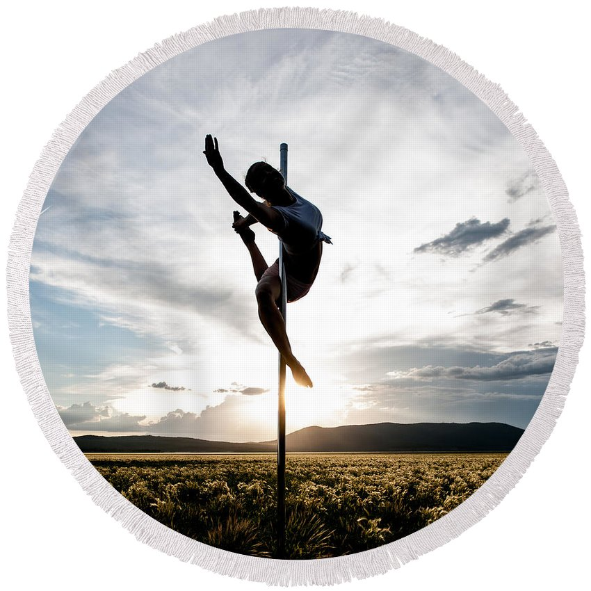 Location Round Beach Towel featuring the photograph Reaching Pole Dance At Sunset by Scott Sawyer