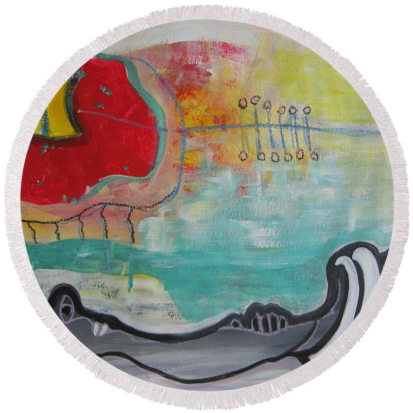 Red Paintings Round Beach Towel featuring the painting Read My Mind1 by Seon-Jeong Kim
