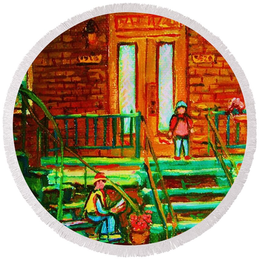 Stairways Round Beach Towel featuring the painting Reading On The Steps by Carole Spandau