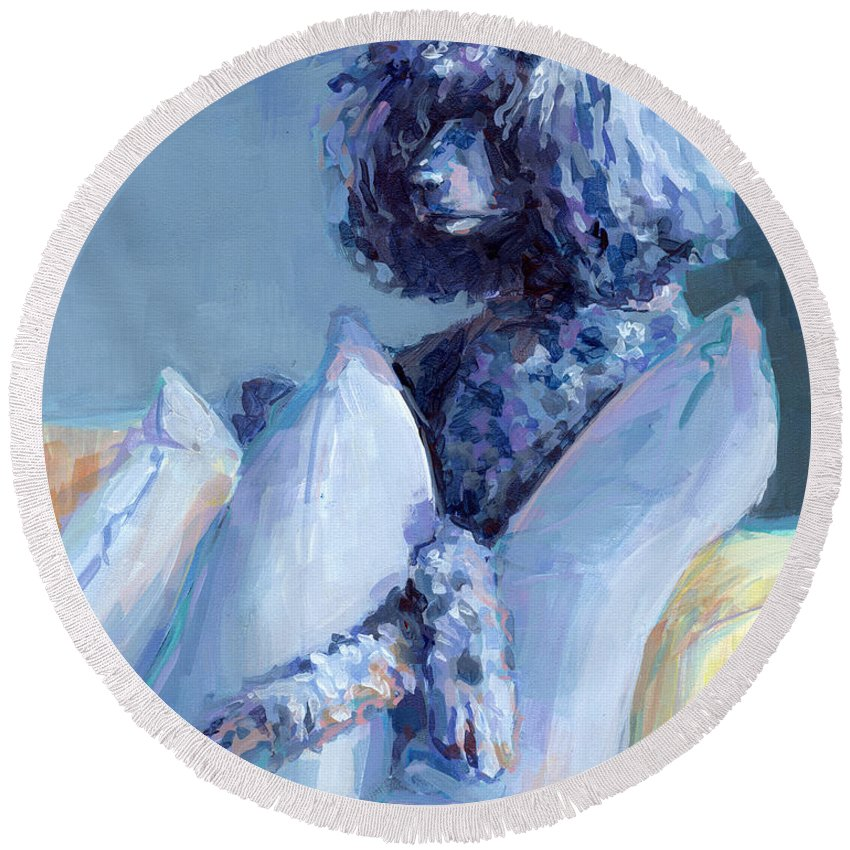 Poodle Paintings Round Beach Towels