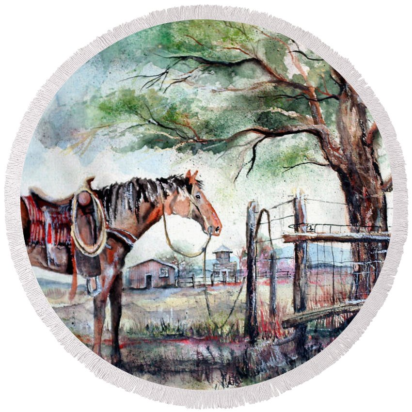 Horse Round Beach Towel featuring the painting Ready by Linda Shackelford