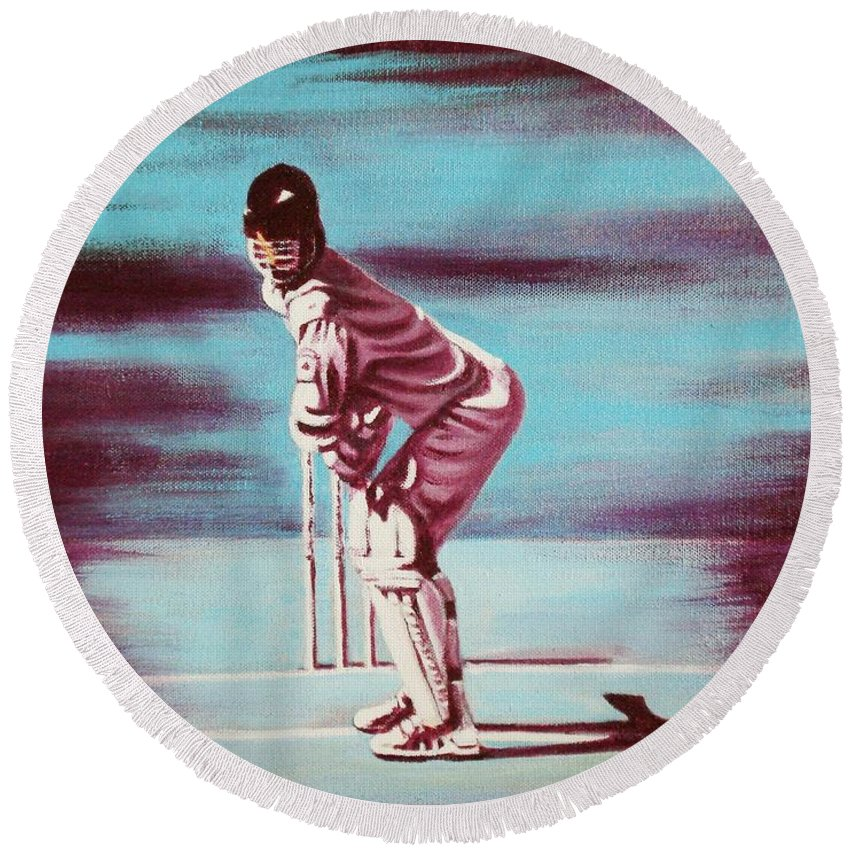 Round Beach Towel featuring the painting Ready To Bat by Usha Shantharam