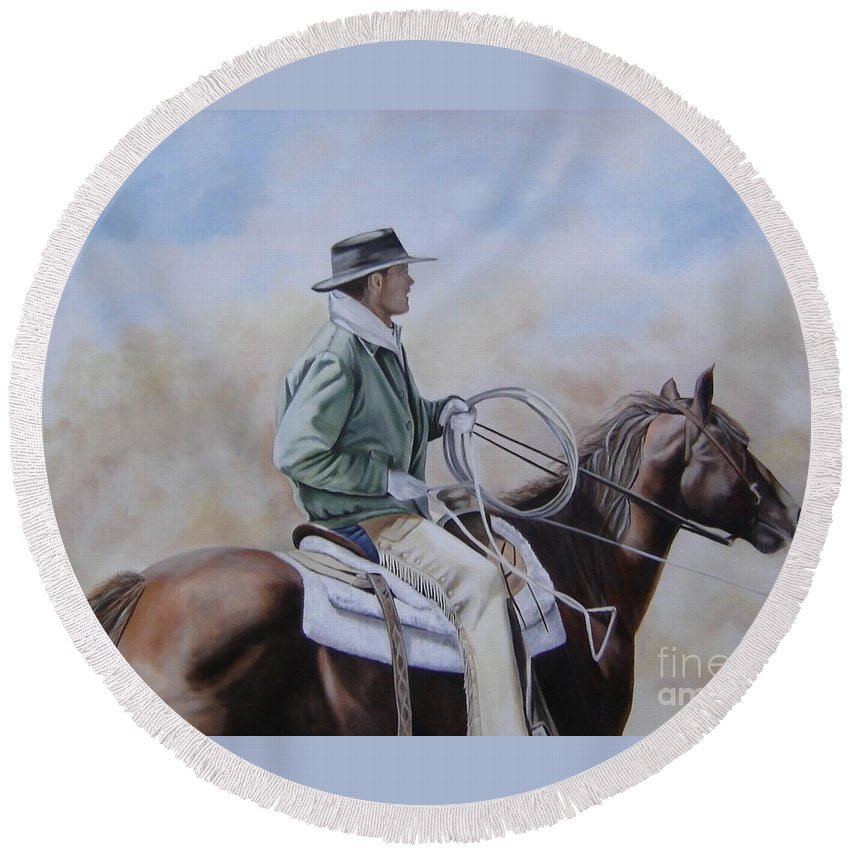 Ranch Round Beach Towel featuring the painting Ready To Rope by Mary Rogers