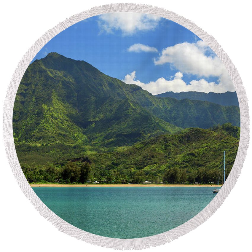 Sailboat Round Beach Towel featuring the photograph Ready To Sail In Hanalei Bay by James Eddy