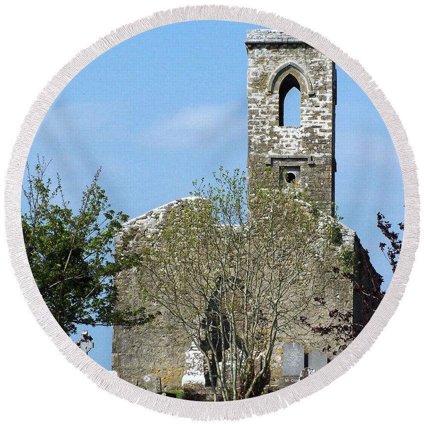 Fuerty Round Beach Towel featuring the photograph Rear View Fuerty Church And Cemetery Roscommon Ireland by Teresa Mucha