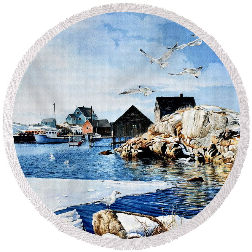 Peggy's Cove Painting Round Beach Towel featuring the painting Reason To Believe by Hanne Lore Koehler