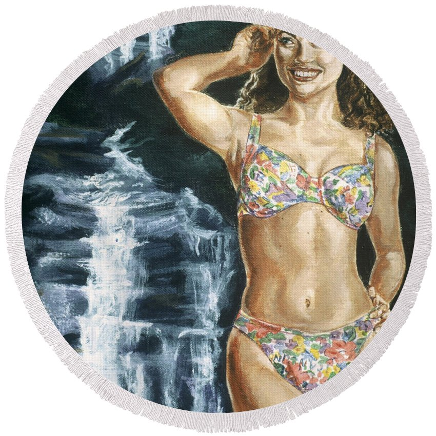 Rebecca Gayheart Round Beach Towel featuring the painting Rebecca Gayheart by Bryan Bustard
