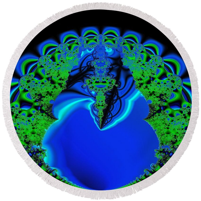 Fractal Round Beach Towel featuring the digital art Rebirth I by Dominique Favre