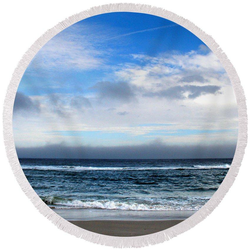 Seascape Round Beach Towel featuring the photograph Receding Fog Seascape by Steve Karol
