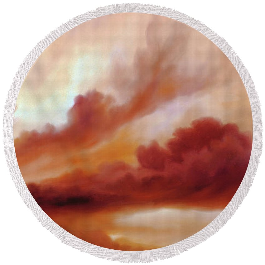 Skyscape Round Beach Towel featuring the painting Receding Storm Sketch III by James Christopher Hill