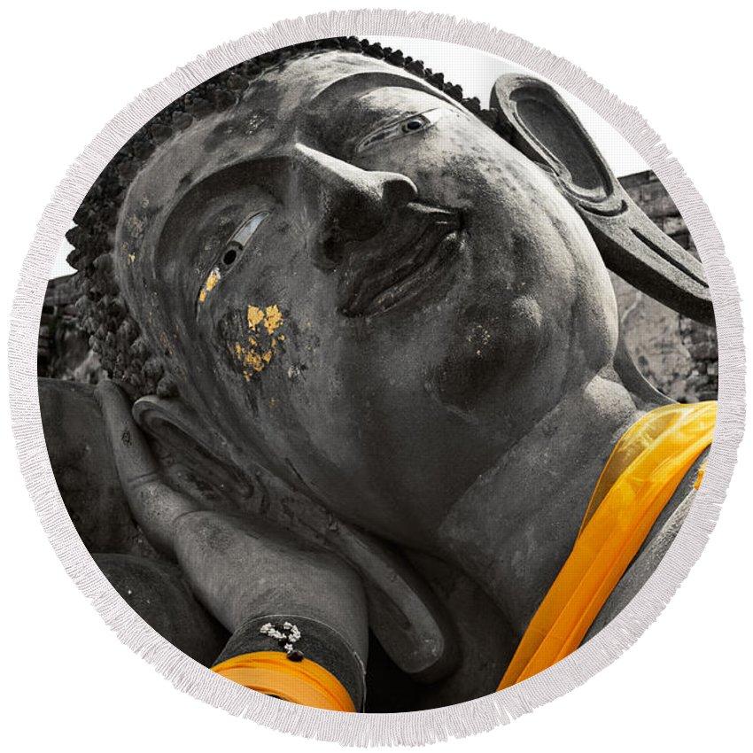 Photography Round Beach Towel featuring the photograph Reclining Buddha by U Schade