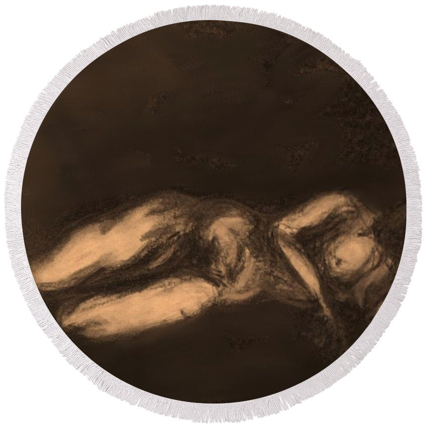 Nude Round Beach Towel featuring the drawing Reclining by Ian MacDonald