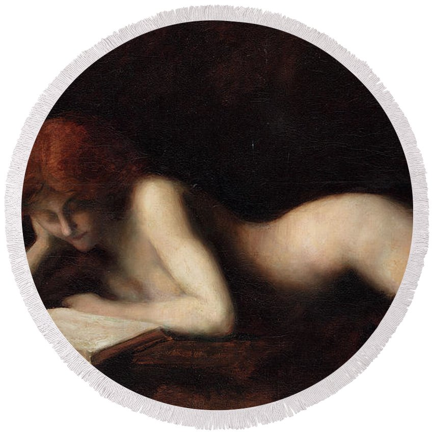 Woman Reading Round Beach Towel featuring the painting Reclining Nude Woman Reading A Book by Jean-Jacques Henner