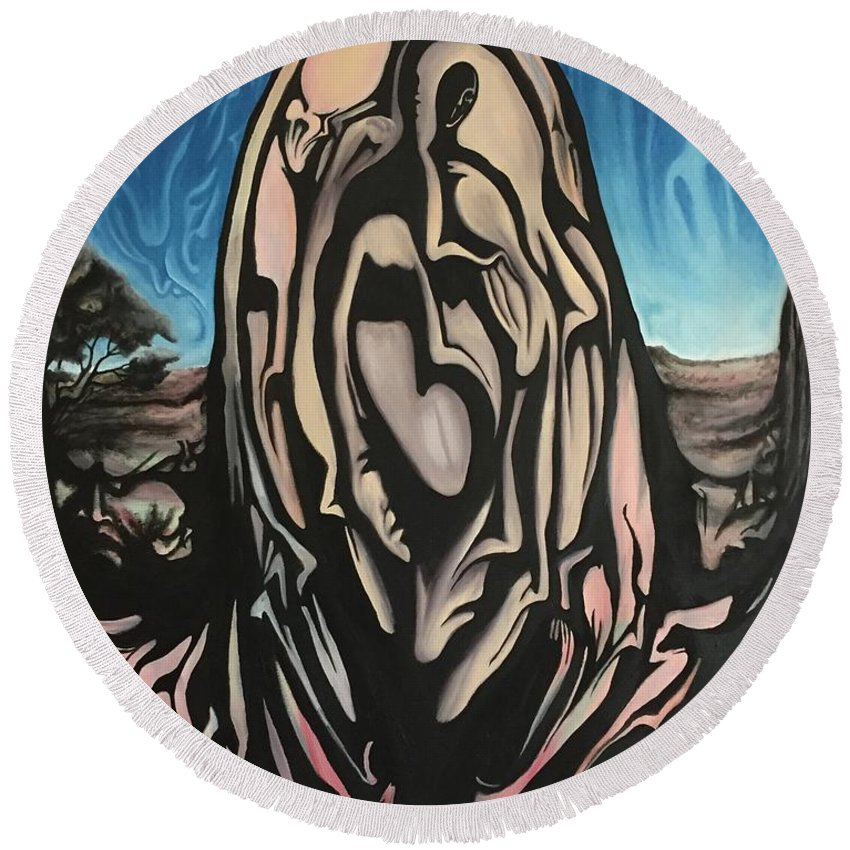 Tmad Round Beach Towel featuring the painting Recluse by Michael TMAD Finney