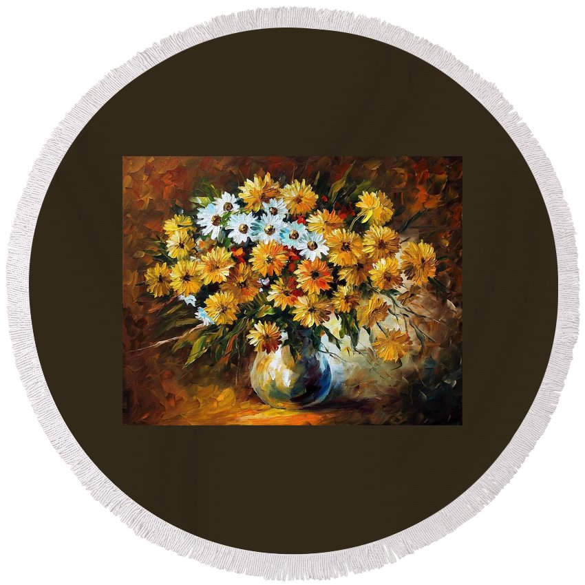 Afremov Round Beach Towel featuring the painting Recollection by Leonid Afremov