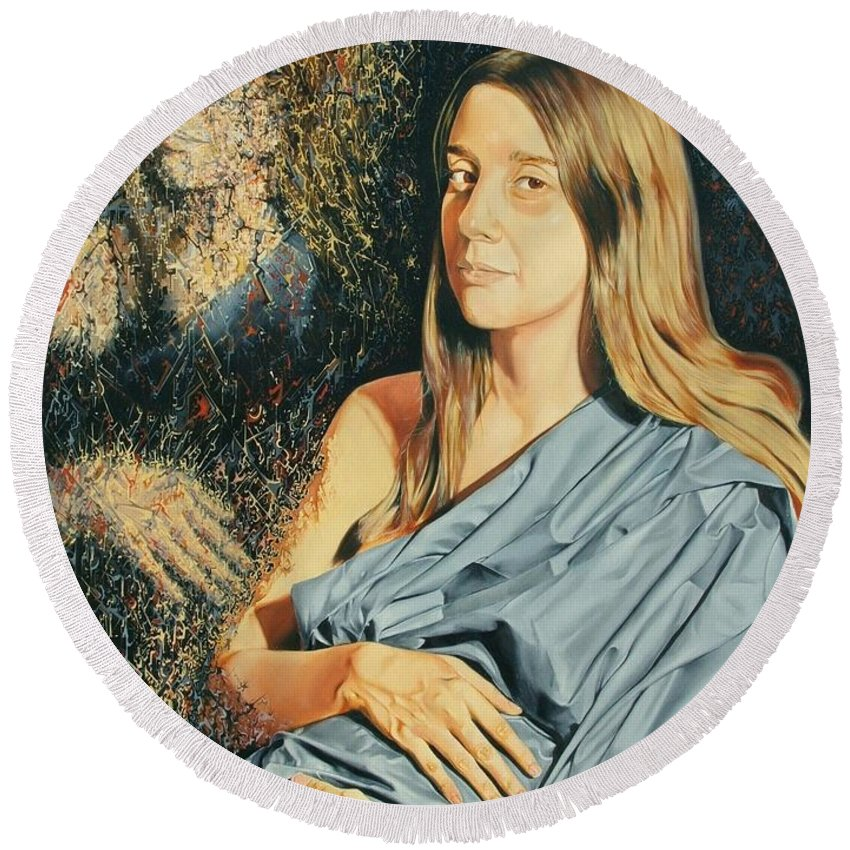 Surrealism Round Beach Towel featuring the painting Reconstruction Of The Classical Madonna by Darwin Leon