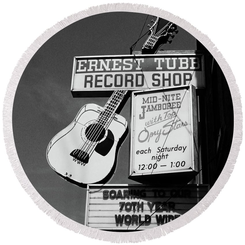Nashville Round Beach Towel featuring the photograph Record Shop- By Linda Woods by Linda Woods