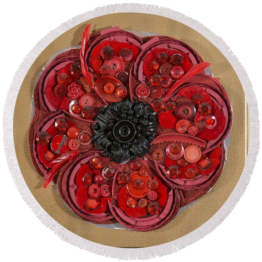 Recycle Poppy Plastic Coffee Food Lids Buttons Dog Food Bag Feathers Spoon Sheila Mcphee Canadian Artist Eco Green Round Beach Towel featuring the painting Recycled Poppy by Sheila McPhee