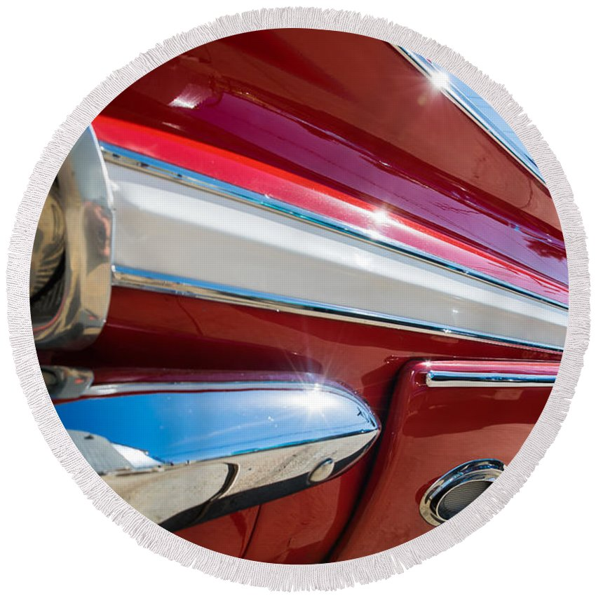 Red 1960 Chevy Low Rider Round Beach Towel featuring the photograph Red 1960 Chevy Low Rider by Robert VanDerWal