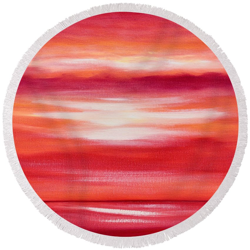 Art Round Beach Towel featuring the painting Red Abstract Sunset by Gina De Gorna