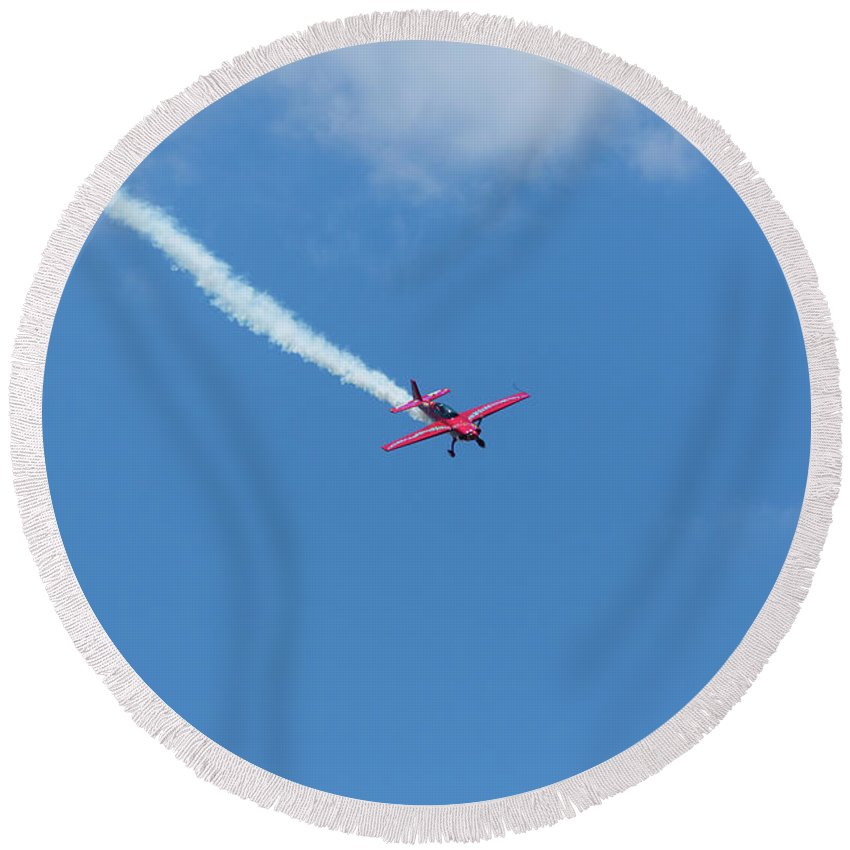 Acrobatic Round Beach Towel featuring the photograph Red Aerobatic Airplane 18 by John Brueske